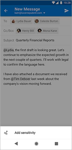 """Снимок экрана: кнопка """"добавить чувствительность"""" в Outlook для Android"""