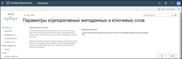 Enterprise метаданных и ключевых слов