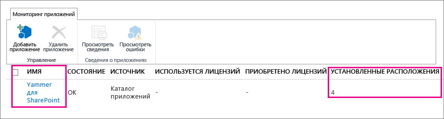 Мониторинг приложения Yammer для SharePoint для отслеживания числа его экземпляров, установленных в одном клиенте Office365.