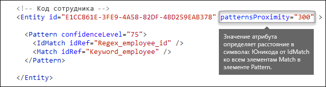 XML-разметка, демонстрирующая атрибут patternsProximity