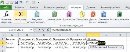 Использование функции «Автосумма» для быстрого сложения значений строки данных
