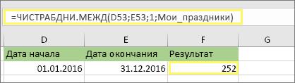 =ЧИСТРАБДНИ.МЕЖД(D53;E53;1;МоиПраздники) и результат: 252