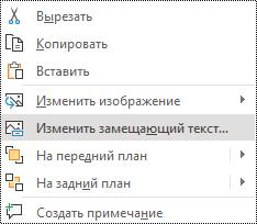 """Контекстное меню для изображения, в котором показан параметр """"изменить замещающий текст"""" в PowerPoint Online."""