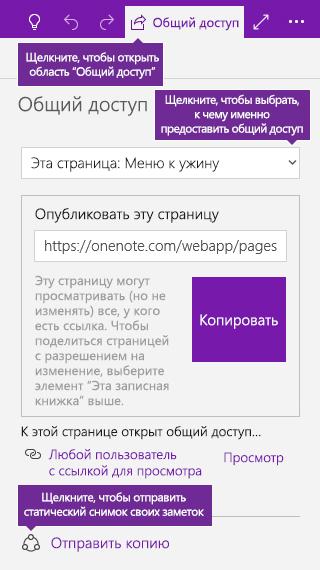 Снимок экрана: отправка копии заметок из OneNote