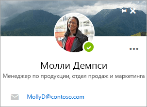 """Снимок экрана: карточка контакта на странице """"Люди""""."""