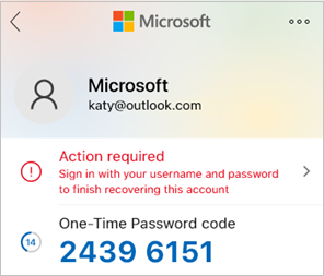 Снимок экрана: Microsoft Authenticator с разовым кодом пароля.