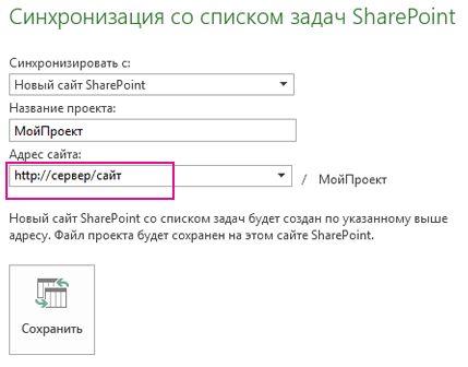 Изображение процесса синхронизации с новым сайтом SharePoint