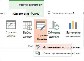 Работа с диаграммами с выбором данных за редактирования