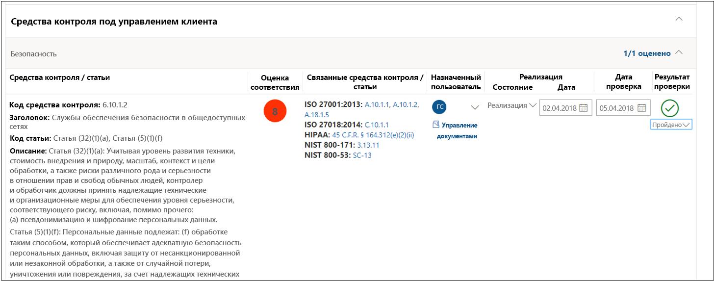 Диспетчер соответствия требованиям: средство контроля GDPR 6.10.1.2, проверка пройдена