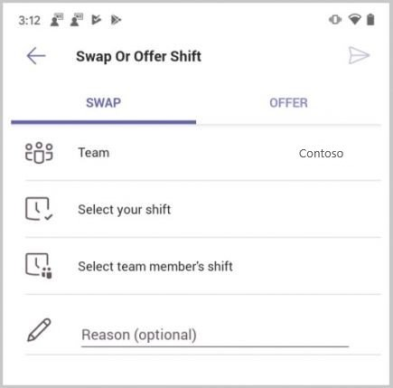 Замена смены в сменах в Microsoft Teams