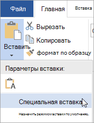 """Команды Специальная вставка в меню """"Вставка"""""""