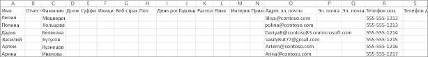 Так выглядит пример CSV-файла с контактными данными.