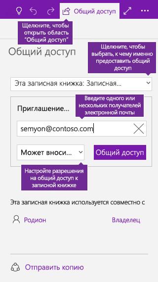 Снимок экрана: предоставление общего доступа ко всей записной книжке в OneNote
