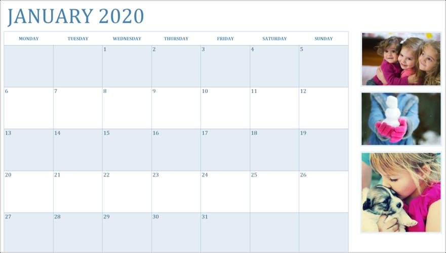 Изображение календаря 2020 за январь с фотографиями
