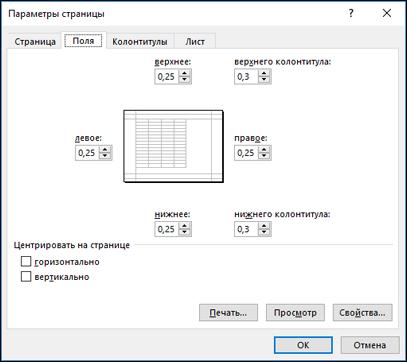 """Параметры страницы"" > параметры на вкладке ""Поля"""
