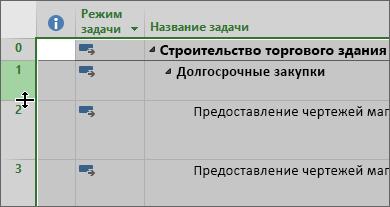 Снимок экрана из диаграммы Ганта с курсора при наведении указателя мыши на разделитель строки