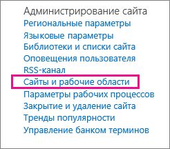 """Раздел """"Сайты и рабочие области"""" на странице """"Параметры сайта"""""""