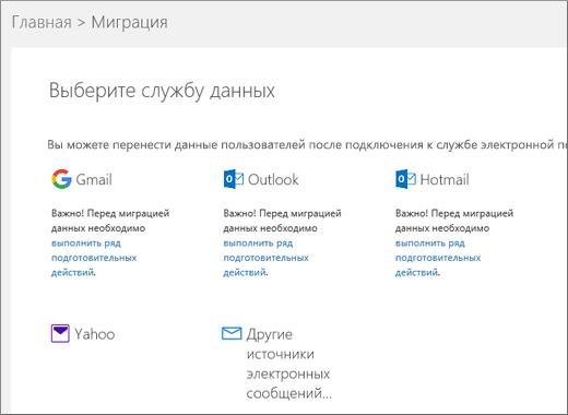 Выбор службы электронной почты