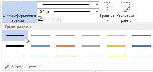 Стили границ таблицы