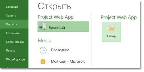 """Кнопка """"Обзор"""" для открытия файла Project Web App"""