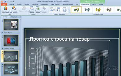 Вкладка 'Работа с диаграммами' появляется при щелчке диаграммы.
