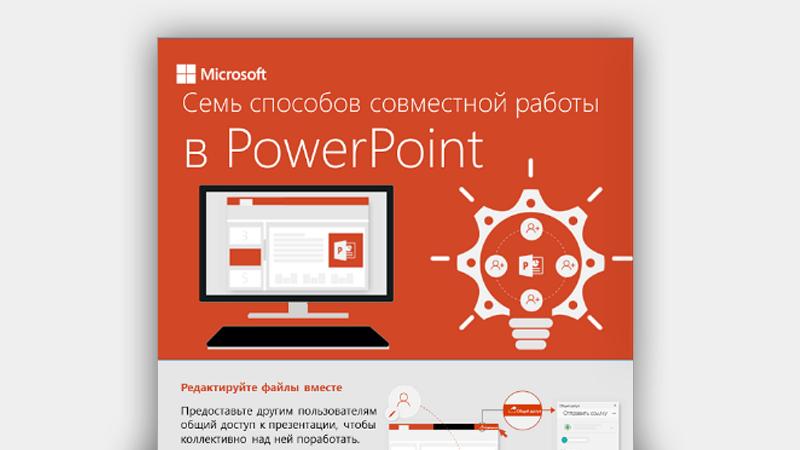 """Инфографика """"7способов совместной работы в PowerPoint"""""""