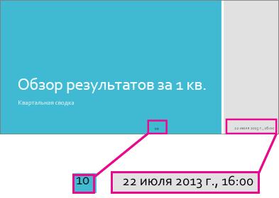 Добавление даты, времени и номеров слайдов
