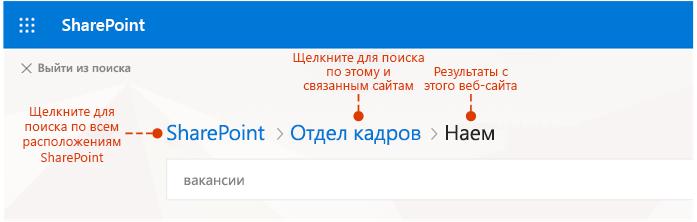 Снимок экрана: откуда результатов и дополнительный места для поиска