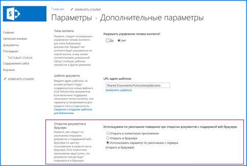 Снимок страницы дополнительных параметров в библиотеке документов SharePoint