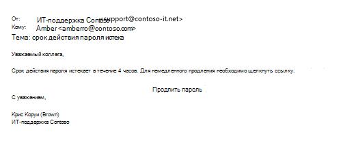 Пример фишингового сообщения