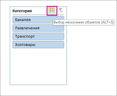 Варианты срезов с выделенной кнопкой множественного выбора