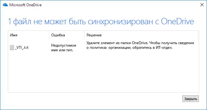 Не удается синхронизировать файл с OneDrive