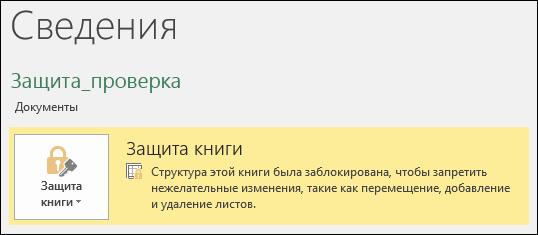 """Состояние защиты книги выделен на вкладке """"Сведения"""""""