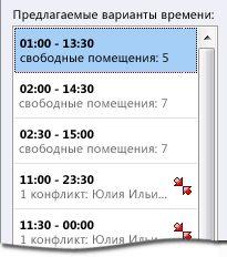Область «Предлагаемые варианты времени» для приглашения на собрание