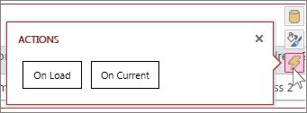 Диалоговое окно «Действия» в представлении веб-таблицы данных