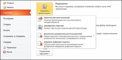 Параметры кнопки «Защита презентации»