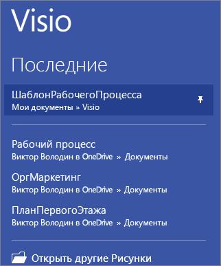 Закрепленный шаблон в Visio