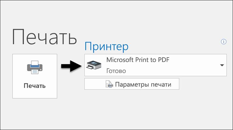 """Печать сообщения электронной почты в PDF-файл с помощью функции """"Печать""""."""