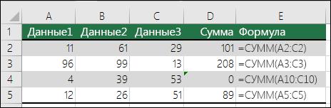 Excel сообщает об ошибке, если формула не похожа на смежные.