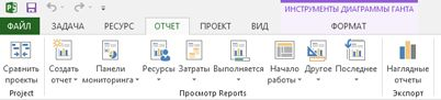 """Вкладка """"Отчет"""" в Project 2013"""