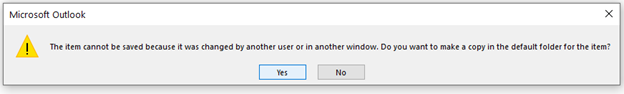 Не удалось сохранить элемент, так как он был изменен другим пользователем или в другом окне.  Создать копию в папке для элемента по умолчанию?