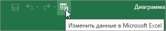 """Значок """"Изменить данные в Microsoft Excel"""" на панели быстрого доступа"""