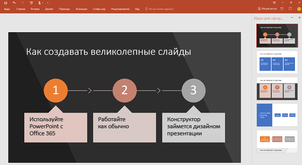 Конструктор PowerPoint преобразовывает текст, описывающий процесс, в графический элемент.