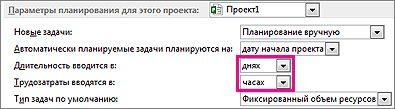 """Диалоговое окно """"Параметры"""", раздел параметров расписания для текущего проекта"""