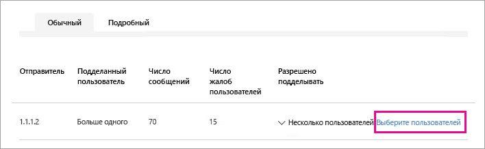 Снимок экрана, на котором показано, как выбрать пользователей, которых отправителю разрешается подделывать