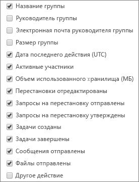 Отчет о действиях в группе StaffHub — выбор столбцов.