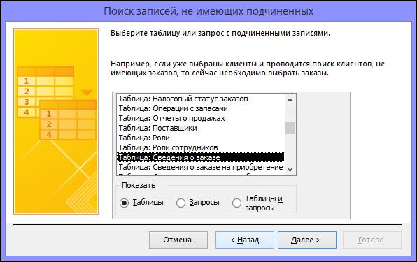 Выберите таблицу или запрос со связанными записями в диалоговом окне мастера поиска записей без подчиненных