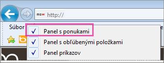 Zobrazenie panela s ponukami v Internet Exploreri