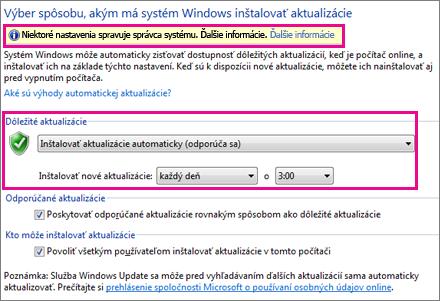 Nastavenie automatických aktualizácií
