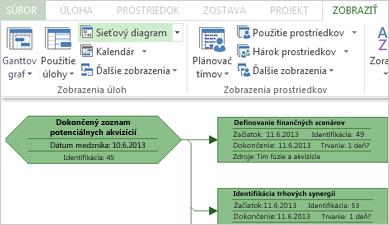 Skupina Zobrazenia úloh na páse s nástrojmi a časť vzorového sieťového diagramu
